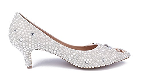 TDA Wedding Pearl Women's Pointed Party Dress Leather Patent Kitten Heel Pumps Flower Toe White SwSrBYzq