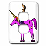 3dRose All Smiles Art Animals - Cool Humorous Dachshund Dog Riding Unicorn Cartoon - Light Switch Covers - 2 plug outlet cover (lsp_281456_6)