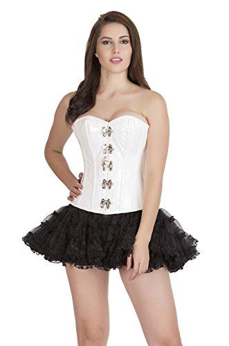 ガイダンス下着追記White PVC Leather Gothic Steampunk Overbust Black Tissue Tutu Skirt Corset Dress