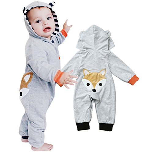 Birdfly Toddler Baby Cute Fox Butt Hooded Romper Infant Button Down Animal One-Piece Jumpsuit (Gray, 6M) (Clothing Angel Kids Toddler)