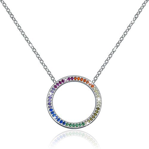 MONBO CZ Circle Necklace Shining Rainbow CZ Sterling Silver Open Circle Pendant Necklace (Rainbow Shine Circle) - Circle Zirconia Necklace