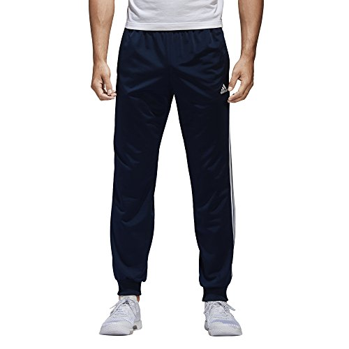 adidas Mens Athletics Essential Tricot 3 Stripe Tapered Pants, Collegiate Navy/White, Large