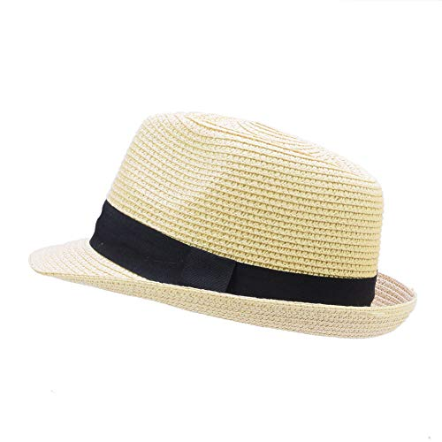 IFSUN Unisex Kids Boys Girls Straw Hat Fedora Cap Jazz Hat Short Brim Sun Hat]()