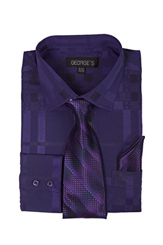 George's Geometric Pattern Fashion Dress Shirt With Woven Tie Set AH623 Purple-16-16 1/2-36-37
