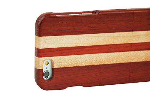 SunSmart Manual Natural Wood Bamboo Caja De Madera para iPhone 6 4.7(arce brújula) palo de rosa y arce