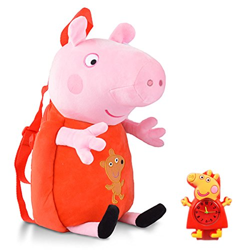 YOURNELO Kid's Cute Peppa Pig Plush Toys Toddler Backpack fo