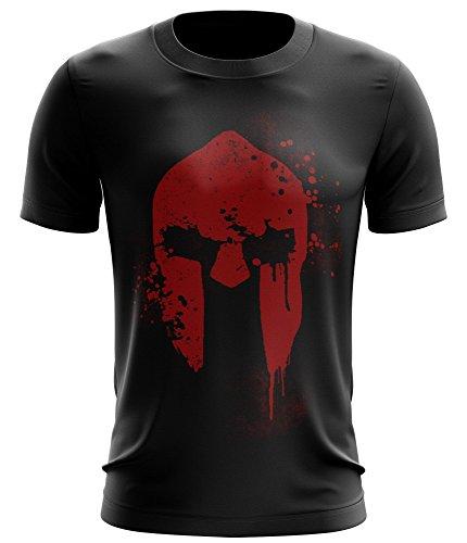 Stylotex Fitness T-Shirt Spartan Helmet Funktions-Stoff schnelltrocknend, Farbe:schwarz;Größe:M