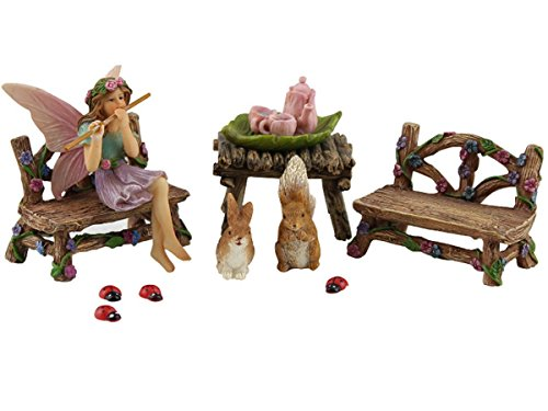 PRETMANNS Fairy Garden Fairy Accessories - Miniature Fairy Figurine & Furniture - 14 Piece Starter Kit - Miniature Fairy Gardens