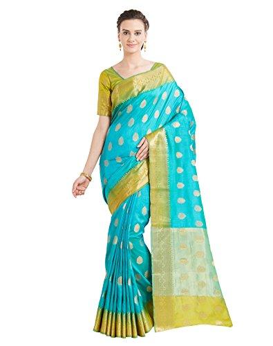 Viva N Diva Sarees for Women's Banarasi Party Wear Shaded Sea Blue Colour Banarasi Art Silk Saree with Un-Stiched Blouse Piece,Free Size