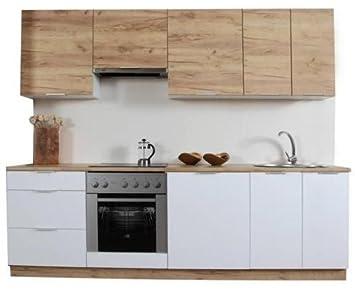 naka24 Komplett Küche 240cm Schränke Küchenzeilen AMANDA Weiss ...
