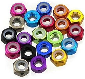 Color: M2 Blue Vehicles-OCS Occus 10Pcs M2//M3 Screw Nut Aluminum Alloy Anti-Loose Self-Locking Nut with Nylon Ring Colorful Red//Silver//Purple Screw Cap