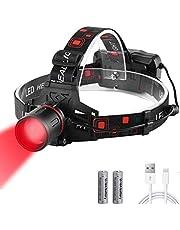 WESLITE Hoofdlamp, rood licht, 1000 lumen, rood licht, extreem helder, XML-T6, led-hoofdlamp, oplaadbaar, rood licht, waterdicht, zoombaar, outerdo hoofdlamp, rood, voor jacht, nachtzicht, astronomie, camping