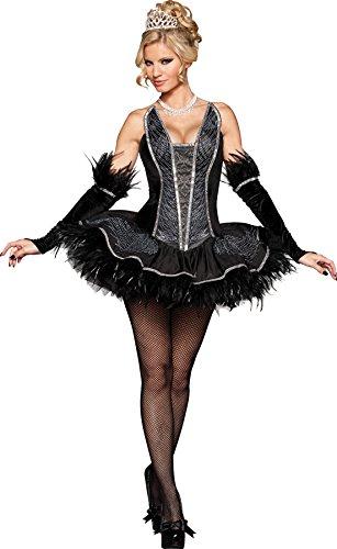 [GTH Women's Seductive Swan Black Velvet Adults Halloween Themed Costume, M (8-10)] (Swan Halloween Costumes)