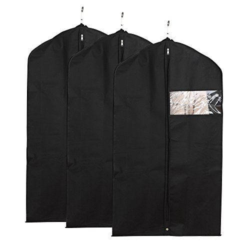"""Garment Bags - Housen Solutions Black Garment Covers, 42""""H Travel Breathable Suit Bags with Clear Window, Shoes Bag Included, Pack of 3"""