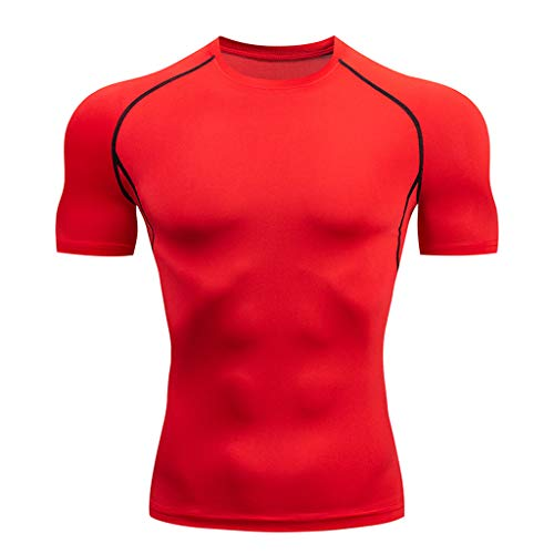 NUWFOR Mens Casual Fitness Fast Drying Elastic Breathable Sports Tight Short Sleeve Top(Red,US L Chest:39.4-43.3