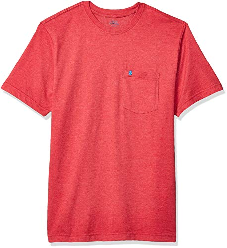 (IZOD Men's Saltwater Short Sleeve Solid T-Shirt with Pocket, Glossy Red, Large)