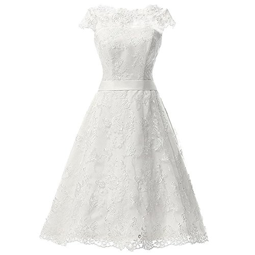AbaoWedding Womens Floral Lace Knee-Length Short Wedding Dress Bridal Gown Size 10,White