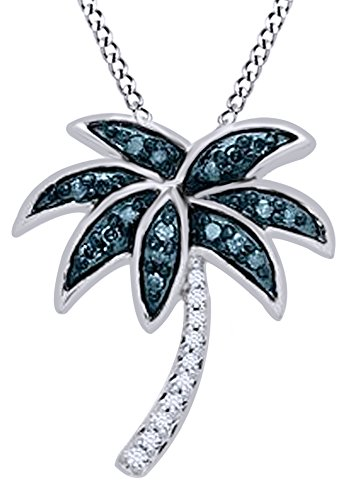 Round Cut White & Blue Natural Diamond Palm Tree Pendant Necklace In 14K White Gold Over Sterling Silver (0.13 Ct) (White Gold Palm Tree Necklace)