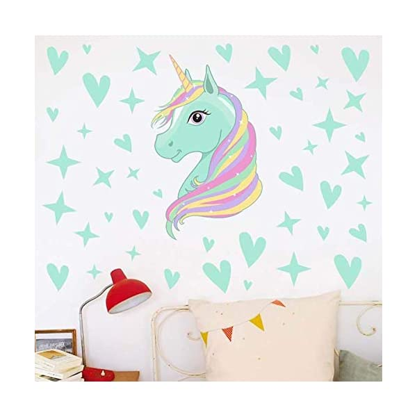AIYANG Unicorn Wall Decals Stars Love Hearts Wall Stickers for Baby Girls Bedroom Playroom Decoration 8