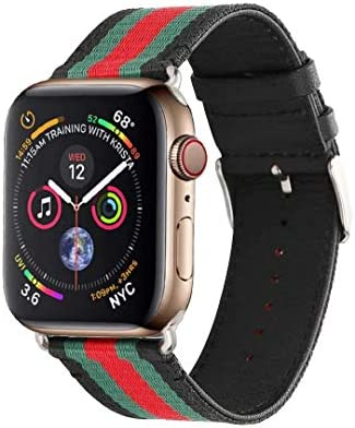 Sport Band Compatible with Apple Watch, Classy Style Genuine Leather with Nylon Replacement Strap Band for iWatch Series 4 Series 3 Series 2 Series 1 ...