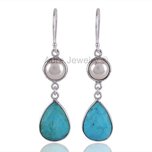 925 Sterling Silver Earrings for Womens & Girls, Drop & Dangle Earrings, Turquoise, Pearl Earrings Sterling Silver for Womens & Girls, Gift for Womens, Mom, Bridesmaid Gift, Handmade Jewelry ()