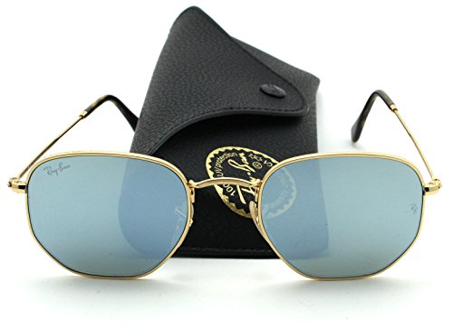 Ray-Ban RB3548N HEXAGONAL FLAT LENSES Mirrored Sunglasses (Gold Frame/Silver Flash Lens 001/30, - Bans Mirrored Silver Ray