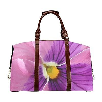5b487ba93b Pink And Purple Pansy Custom Waterproof Travel Tote Bag Duffel Bag  Crossbody Luggage handbag low-