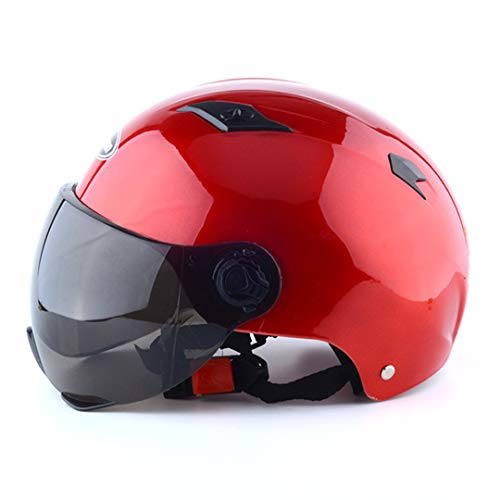 3/4 Open Face Motorcycle Helmets Scooter Unisex Motorbike Adjustable Size Protection Gear Head Helmets 328-Red