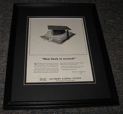 (Southern Railway ORIGINAL 1951 Framed Advertisement Promotional Photo 8x10)
