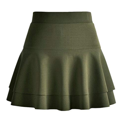 Afibi Casual Mini Stretch Waist Flared Plain Pleated Skater Skirt (Large, Army Green 2)]()
