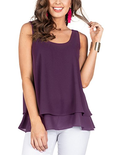 Floral Find Women's Chiffon Layered Tank Tops Summer Sleeveless Round Neck Blouses Shirts Light-Purple