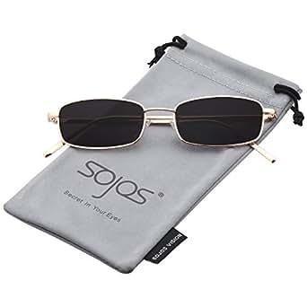 SOJOS Trendy Small Rectangular Mens Womens Sunglasses Metal Rim SJ1077 with Gold Frame/Grey Lens