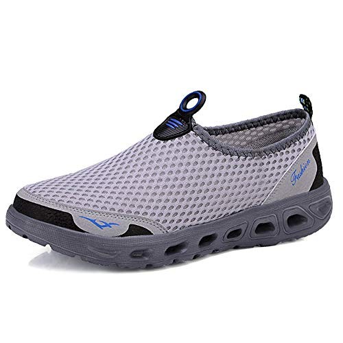 YIRUIYA Men's Lightweight Breathable Running Shoes Athletic Sneakers Fashion Casual Walking Slip On Shoes Light Gray 10.5-11 M US ()