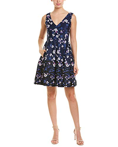 Taylor Dresses Women's Sleeveless Border Printed Fit and Flare Dress, Navy Blush, 14
