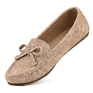 sorliva Comfort Suede Leather Moccasins Leopard Print Loafers Casual Flat Boat Shoes(9,Beige)