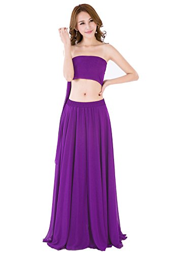 Women Summer Chiffon High Waist Pleated Big Hem Full/Ankle Length Beach Maxi - Fit Exquisite Corset