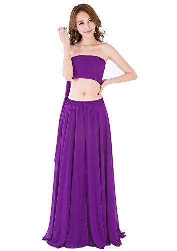 Exquisite Fit Corset - Women Summer Chiffon High Waist Pleated Big Hem Full/Ankle Length Beach Maxi Skirt(XX-Large/Violet)