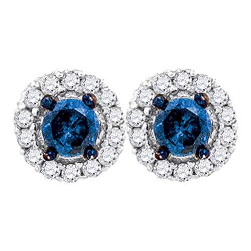 (Blue Diamond Solitaire Circle Frame Earrings 1/2ct 10k White Gold)
