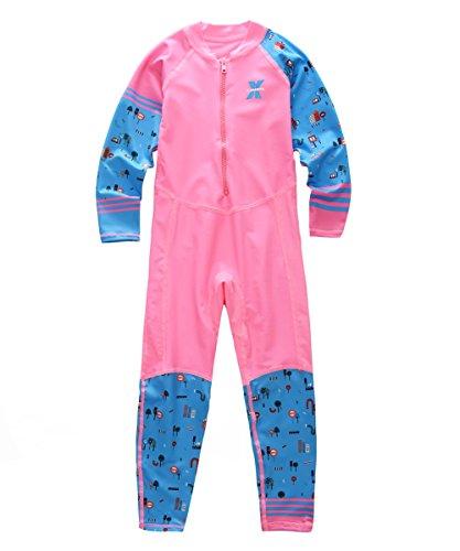 M2C X-Manta Girls Full Body Swimsuit Sun Protective One-Piece Pink 7/8