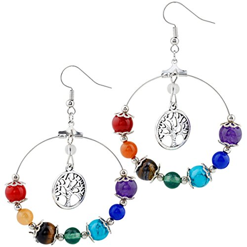 (SUNYIK 7 Chakra Stone Round Dangle Earrings for Women,with Tree of Life)