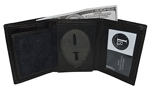 Mens Leather Wallet Sheriff Officer Police Shield Fire Security Id Holder New ! (Black) (Officer Shield)