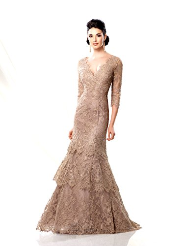 Ivonne D for Mon Cheri Women's 3/4 Sleeve Lace and Tulle Dress 12 Champagne