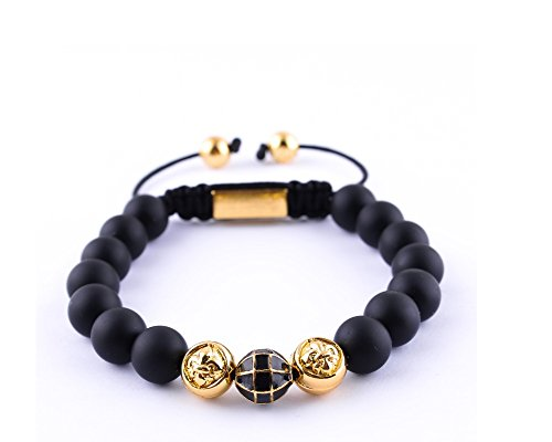 Euromen Natural Stone Black Pulseira Rope Handmade Shamballa Bracelets Mens Beaded Bracelets Jewelry (Black)