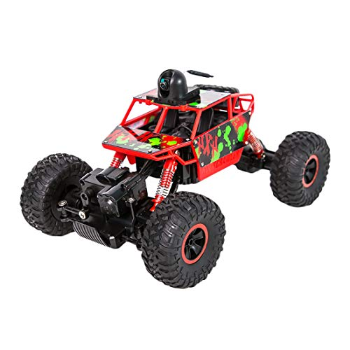 (WOLFBUSH Remote Control Car 1:18 Electric Off-Road Vehicle for Children High Speed 4WD 2.4 GHz Climbing Car with Camera WiFi 720P VR First Perspective Operation (Red))