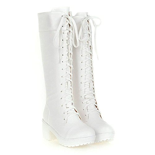 Block Boots Combat up Womens High Platform Heel Boots Vitalo White Military Lace Knee 1CwHZxnqR