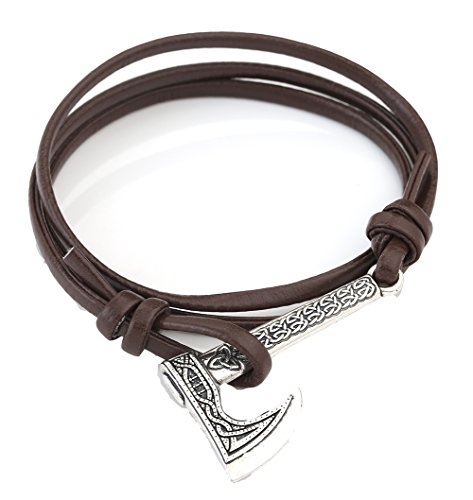 New Simple Viking Axes Anchor Celtic Knot Pendant Bracelet Amulet Jewelry for Men 7.87