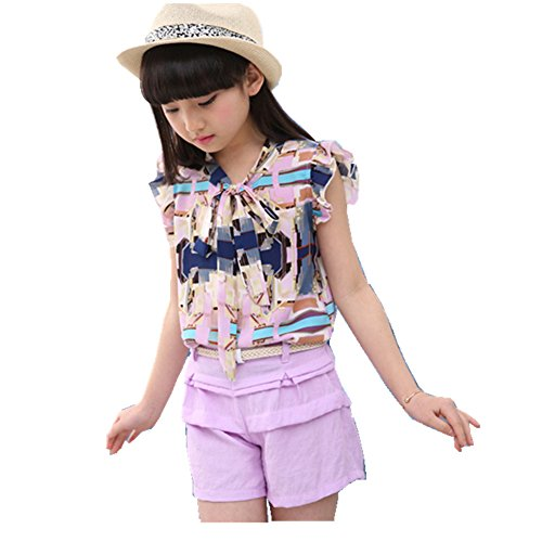 FTSUCQ Girls Tie Sleeveless Graffiti Top Shirt with Shorts, Two-pieces Sets,Purple 150 (Cute 11 Year Old Guys)