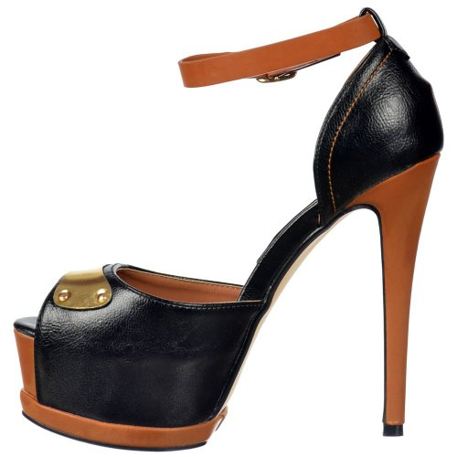 Damen Damen Peep Toe Ankle Straps Pfennigabsatz - Gold Metal Badge Detail - Schwarz