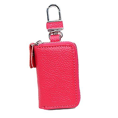 (Colorido Car Key Holder Bag Zipper Purse Wallet Keychain size Small (Rose)