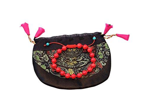 Tibet Coral Beads - Handmade Tibetan individually knotted adjustable wrist mala yoga bracelet for meditation many choice (Coral)